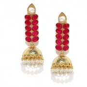 Rubans Gold Toned Pink Colorstone Jhumka Earrings