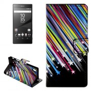 Shooting Stars Pattern Leather Case with Holder & Card Slots & Wallet for Sony Xperia Z5