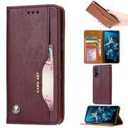 Jiangym Fundas de cuero para teléfonos móviles Funda de cuero con textura y textura for la piel de amasado for Huawei Honor 20, con marco de fotos, soporte y ranuras for tarjetas y cartera Fundas de cuero