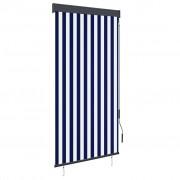 vidaXL Store roulant d'extérieur 100x250 cm Bleu et blanc