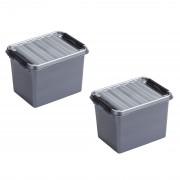 Merkloos 2x stuks opbergboxen/opbergdozen 3 liter kunststof metallic/zwart