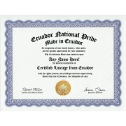 Ecuador Ecuadorean National Pride Certification: Custom Gag Nationality Family History Genealogy Certificate (Funny Customized Joke Gift - Novelty Item)