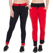 Cliths Womens's Yoga Pants| Cotton Solid Black Red Grey Black Gym Wear Track Pants For Women/Girls Pack of 2
