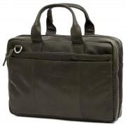Lucleon Montreal Olivgrüne Leder-Laptop-Tasche