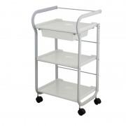 Blanco Carrito Metálico Blanco Part: Equipado con 3 estantes y cajón extraíble