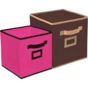Billion Designer Non Woven 2 Pieces Small & Large Foldable Storage Organiser Cubes/Boxes (Coffee & Pink) - CTKTC35318 CTKTC035318(Coffee & Pink)