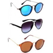TheWhoop Round, Aviator Sunglasses(Green, Violet, Brown)