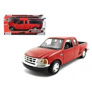 Motormax 73284R Ford F-150 Pickup Truck Flareside Supercab Red 1-24 Diecast Model Car