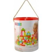 Set cuburi constructii pentru copii din lemn 200 piese multicolore