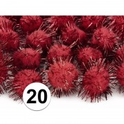 Geen 20x rode knutsel pompons 20 mm