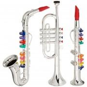 Conjunto de 3 Instrumentos Musicales de Juguete Clarinete , Saxofón , Trompeta