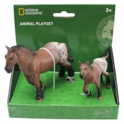 Set 2 figurine Calutul Appaloosa si puiul National Geographic, 3 ani+