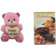 Teddy bear soft toy happy birthday message card for sister
