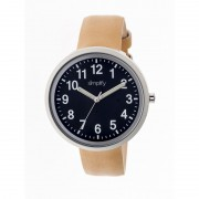 Simplify The 2600 Leather-Band Unisex Watch - Black/Khaki SIM2607