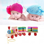Wooden Train Shape Building Blocks Toy Baby Early Learning Training Toy -TGPT0834