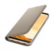 Samsung Flip Case Leather LED EF-NG950PFEGWW - оригинален кожен калъф през който виждате информация от дисплея на Samsung Galaxy S8 (златист)