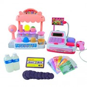 Qiyun Children Pretend Play Toy Set Ice Cream Shop Cash Register with Realistic Actions and Sounds Gift for Kids