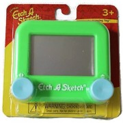 Pocket Etch A Sketch: Green with Light Blue Knobs
