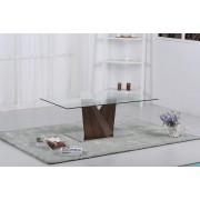 Glass Coffee Table With Walnut Base