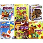 Scooby-Doo! Figure Mystery Machine Van 2017 Hot Wheels Pop Culture Set 5 Cars Collection Funko Vinyl Pop! Pack #5 Volkswagen T1 Panel VW Bus & Highway Hauler Truck / Delivery / Austin mini Bundle