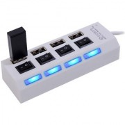 High Speed 4 Port USB HUB 2.0 With Individual Switches - Black/White
