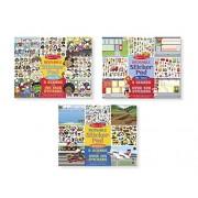 Melissa & Doug Face It!, My Town & Vehicles Reusable Sticker Pad Bundle