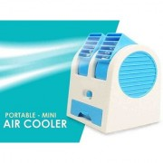 UKANI USB and Battery Powered Mini Portable Dual Blower Desk Table Air Cooler Fan