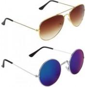 Royalmede Aviator, Round Sunglasses(Brown, Blue)