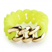 The Rubz Natural Silicone 20mm Unisex Bracelet Neon Yellow & Gold