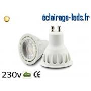 Ampoule led GU10 5w COB blanc chaud 3000K 230v AC ref A112-1