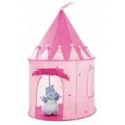 Cort de joaca pliabil tip castel pentru copii, cu usa si fereastra, 125x105cm, roz