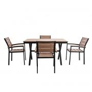 Salón de jardín con mesa y 4 sillas negro y madera VIAGGIO - Miliboo