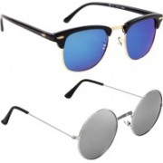 Poloport Clubmaster, Round Sunglasses(Blue, Silver)