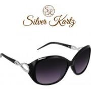 Silver Kartz Wayfarer, Rectangular, Wrap-around Sunglasses(Black, Violet)