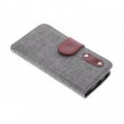Donkergrijze linnen look TPU booktype hoes voor de iPod Touch 5g / 6