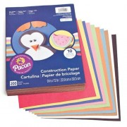Coloured Paper - 200 sheets of 85gsm A4 sized construction paper - 10 assorted bright colours
