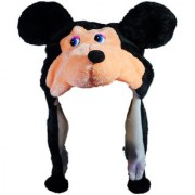 Soft Faux Fur Plush Stuffed Cute Mouse Animal Costume Cap with Toy Hood for Boys and Girls (Black Free Size)