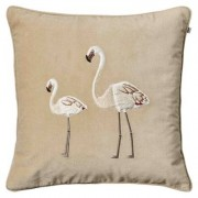 Flamingo Embroidered Flamingo kuddfodral 50x50, beige