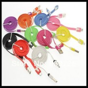 1m Colorful flat Micro Mini 5Pin USB Data Sync Noodles Charger Flat Cable for Samsung HTC LG
