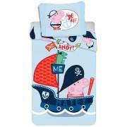 Lenjerie de pat Jerry Fabrics Peppa Pig 007, de copii, din bumbac, 140 x 200 cm, 70 x 90 cm