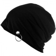 Tahiro Black Cotton Beanie Cap - Pack Of 1