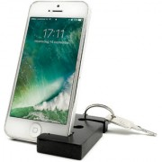 Keychain with earphone and with Mobile Phone Stand / Holder For Smartphone (Black)