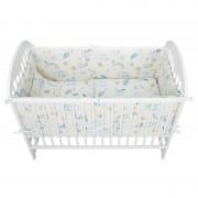 Babyneeds - Lenjerie patut 5 piese 120x60 cm, Berze, Alb-Albastru