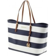 Michael Kors Medium Jet Set white blue Striped Travel Tote bag Waterproof Messenger Bag(Blue, 2 L)