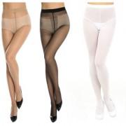 Neska Moda Women 3 Pair Nylon Black White And Skin Panty Hose Stockings STK4andSTK5andSTK6 1Seteach