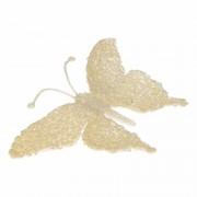 Merkloos Decoratie vlinder creme glitter 18 cm