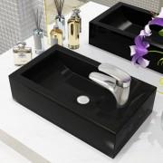 vidaXL Umyvadlo otvor na baterii obdélník keramika černé 46x25,5x12 cm