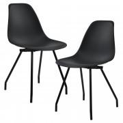 PremiumXL - [en.casa] Design stolica - set od 2 komada (crna, čelične nogare)