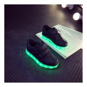 Kids Boys Girls LED Luminous Shoes Fashion Flashing USB Rechargeable Sneakers Black