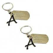 eshoppee A letter alphabet dog tag high quality metal keyring key chain for man and women set of 2 pcs (A alphabet)